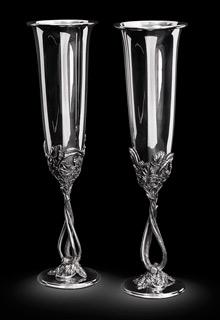 Серебряные фужеры для шампанского на свадьбу