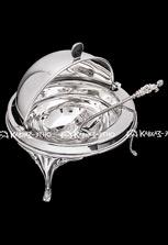 Серебряная икорница с ложкой