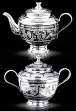 Серебряный чайник и сахарница от кубачинских мастеров