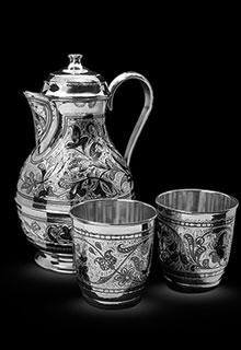 Набор «Серебряный кувшин и два стакана»