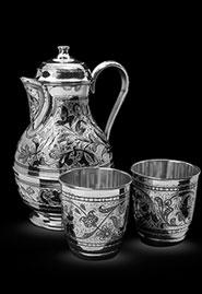Кувшин и два стакана из серебра в наборе