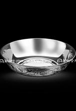 Тарелка серебряная глубокая с чернением и гравировкой