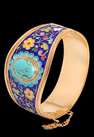 Широкий серебряный браслет с цветной эмалью