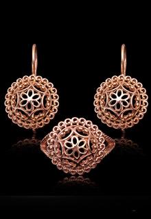 Набор серебряных украшений «Кружево» с позолотой