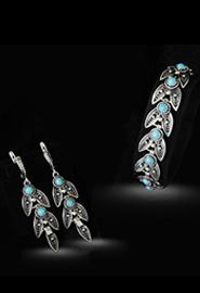 Комплект серебряных украшений «Листик»
