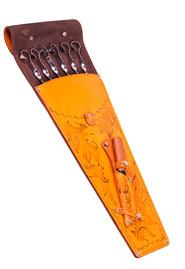 Набор шампуров с ножом в кожаном чехле
