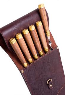 Подарочные шампуры в кожаном чехле «Привал»