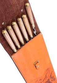 Набор шашлычный с деревянными ручками «Медведь» в кожаном чехле