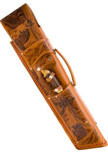 Набор шампуров с деревянными ручками с мангалом  в кожаном чехле «Удачная охота!»