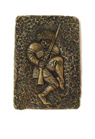 Панно глиняное «Под бронзу» охотник