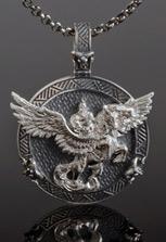 Подвеска из кубачинского серебра Уастырджи крылатый