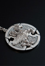 Брелок серебряный Уастырджи на кресте