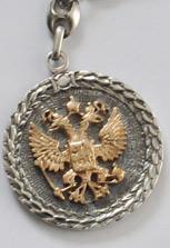 Брелок «Греб России\Святой Георгий» из красного золота