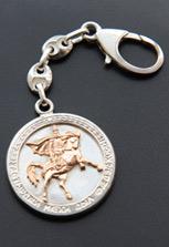 Серебряный брелок с позолоченным изображением Уастырджи