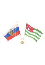 Пара флагов настольных: российский и абхазский