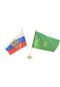 Пара флагов настольных: российский  и республики Адыгея