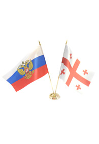 Пара флагов настольных: российский и грузинский