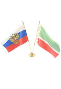 Пара флагов настольных: российский и чеченский