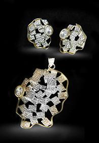 Комплект серебряных украшений с фианитами