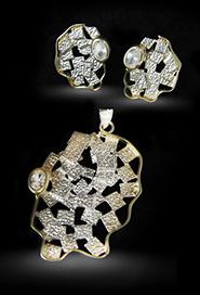 Комплект украшений из серебра с фианитами